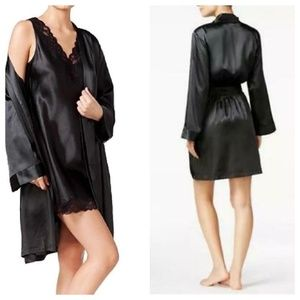 Thalia Sodi Black Silky Satin Short Wrap Robe NWT